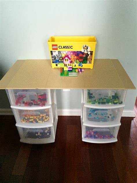 lego table with plastic drawers lego table i made for my son with a velcro top so it can