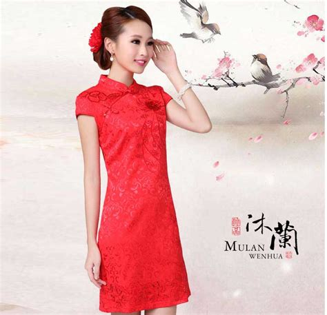 Baju Gaun Dress Korea Motif baju dress cheongsam merah motif bunga model terbaru
