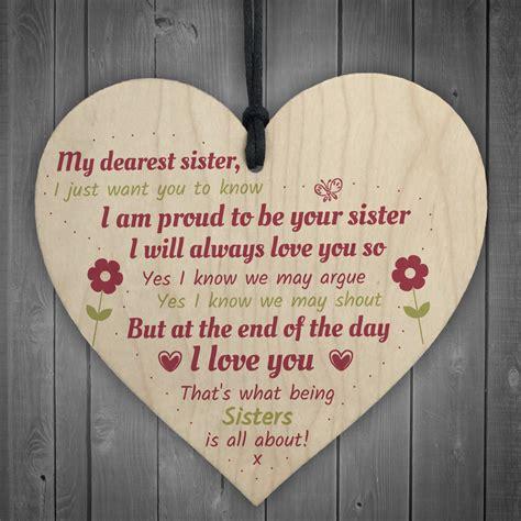 sister gift birthday gift  sister keepsake poem wooden