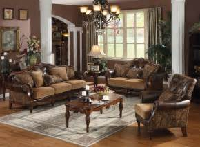 Livingroom Sets Acme Dreena Traditional Bonded Leather And Chenille Living