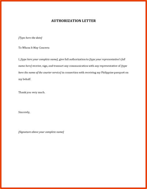 authorization letter how to make 5 authorization letter to claim money actionplan templated