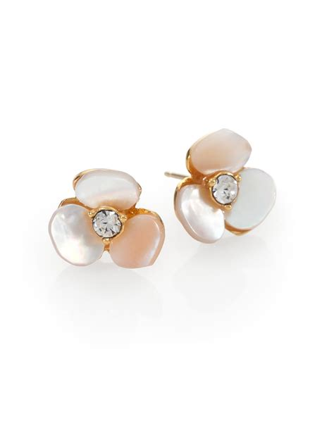Anting Stud Pearl Flower 1 lyst kate spade new york disco pansy of pearl