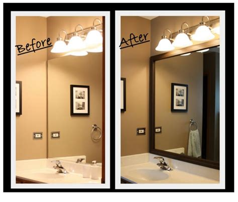 frame those bathroom mirrors for an upgraded look simple
