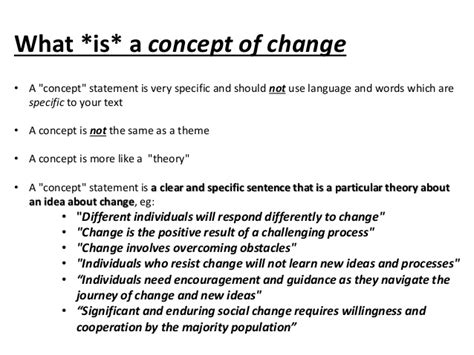 what is concept concepts of change exles and ideas