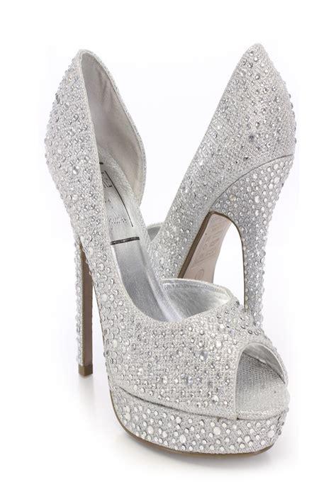 silver peep toe rhinestone decor pumps amiclubwear heel