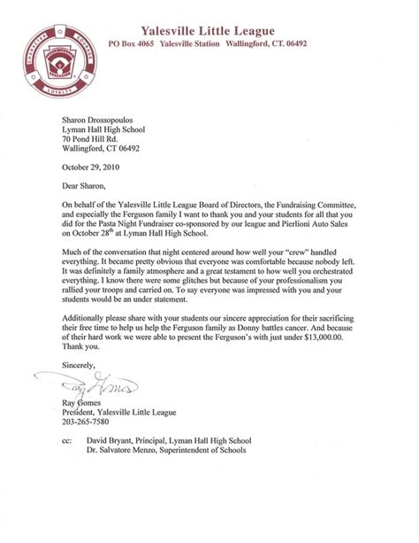 Letter Recognizing Community Service Letters Of Appreciation Lyman Culinary Arts And Hospitality Management
