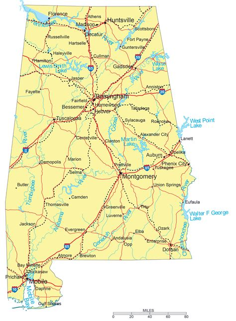 map of alabama usa large detailed road map of alabama with cities vidiani