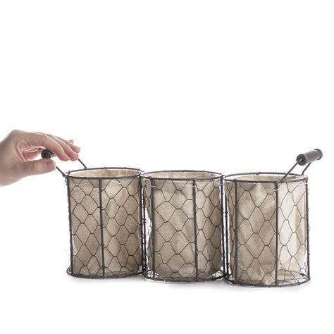 Table Linen Direct Reviews - brown chicken wire and linen storage basket decorative containers kitchen and bath home decor