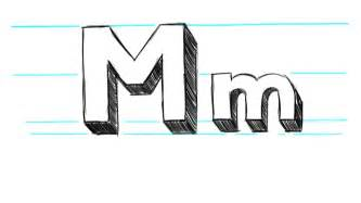how to draw 3d letters m uppercase m and lowercase m in
