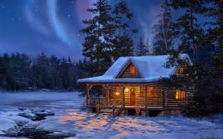 northern lights log cabin free wallpaper