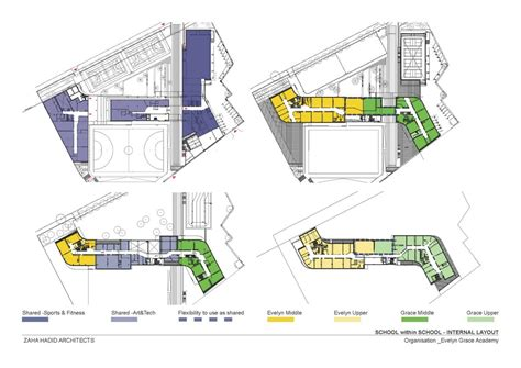 Split Floor House Plans zaha hadid architects evelyn grace academy