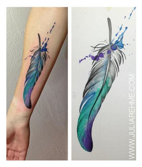 tattoo feather on arm arm feder tattoo von julia rehme