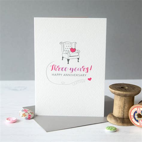 Leather Wedding Anniversary Card by Third Wedding Anniversary Card Leather By Miss Shelly