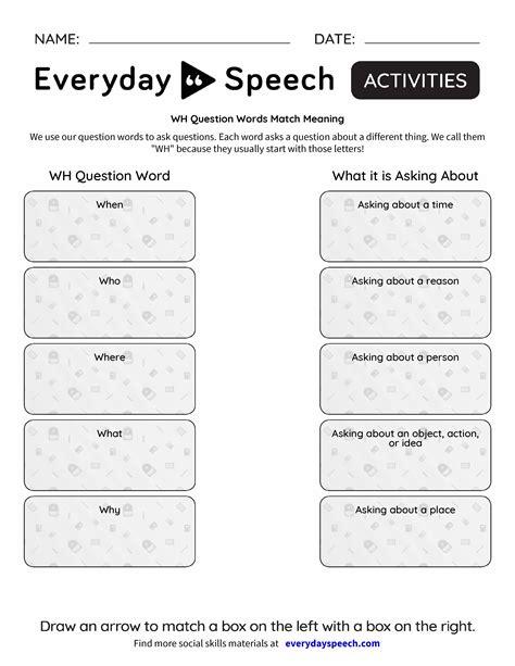 Wh Worksheets Pdf wh question words worksheet pdf kidz activities