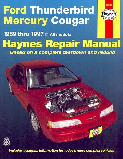 service manual 1995 mercury cougar owners repair manual 1995 1999 ford contour mystique ford thunderbird mercury cougar repair manual 1989 1999 haynes