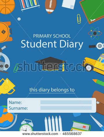 of a school i am a student with primary school diary cover back school stock vector Diar