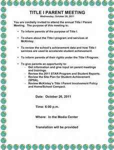 Parent Conference Invitation Letter Mckinley Parent Club