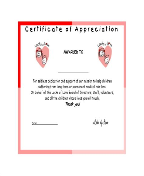template certificate of appreciation 22 certificate of appreciation templates free sle