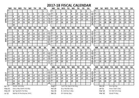 fiscal calendar template starts  april  printable templates