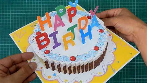 how to make a pop up birthday cake card happy birthday cake pop up card tutorial doovi