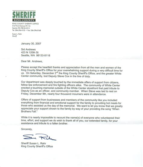 thank you letter after officer and fallen brothers seattle