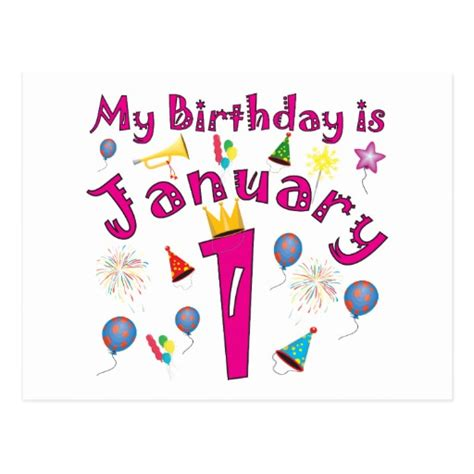 new year birthday new year s january 1 birthday postcard zazzle