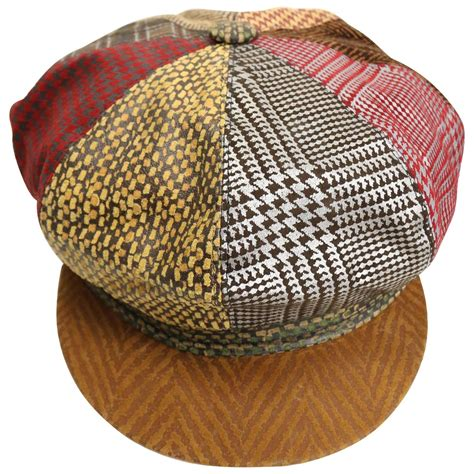 Patchwork Cap - roberto cavalli leather multi patterns patchwork newsboy
