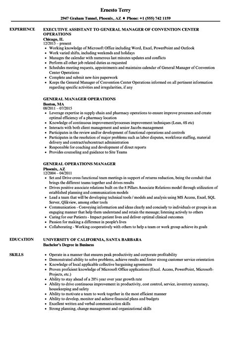 resume format for general manager operations sle resume general manager operations gallery