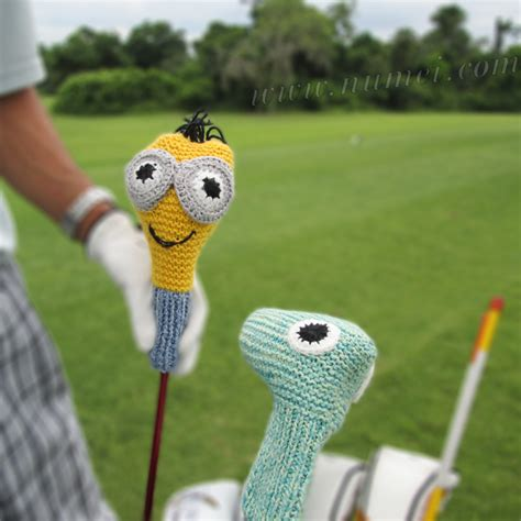 knitting pattern golf driver cover knitting pattern golf club covers green monster and minion