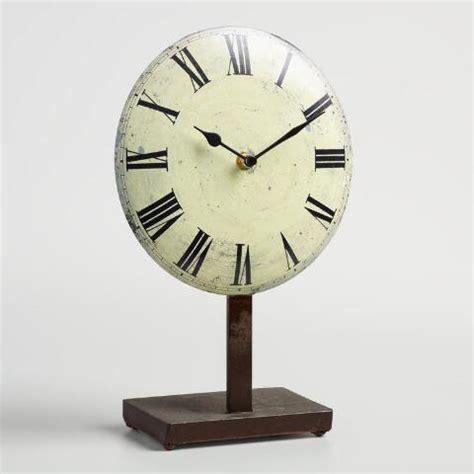pedestal clock white metal emery pedestal clock world market