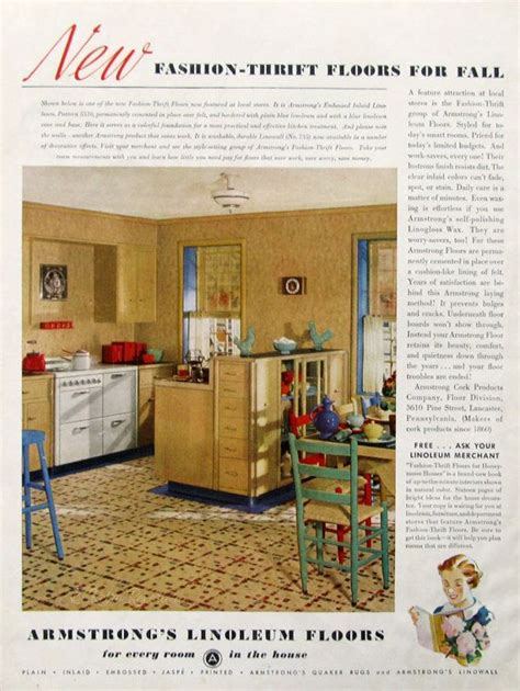 1930s Kitchen Floors by 1936 Armstrong Floor Ads Fashion Thrift Linoleum Floors
