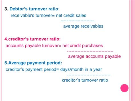 Payables Credit Period Formula accounts ppt on ratio analysis