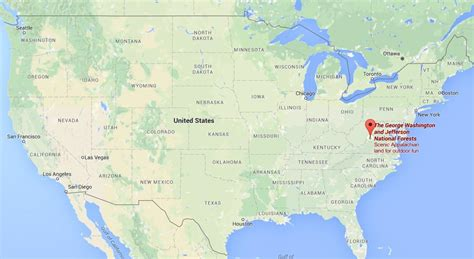 where u at where is george washington national forest on usa map
