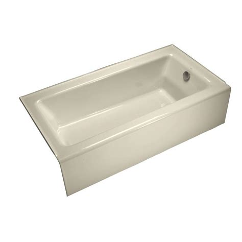 alcove bathtub shop kohler bellwether 60 in almond cast iron alcove