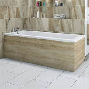 L Shaped Shower Bath 1700 drift oak wooden bath front panel 1700mm bath side panel