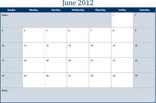2012 Calendar Template by June 2012 Printable Monthly Calendar Template