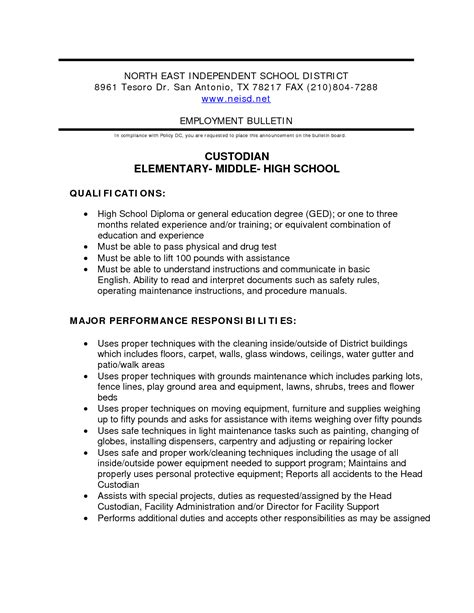 sle resume for custodian position 28 images 100