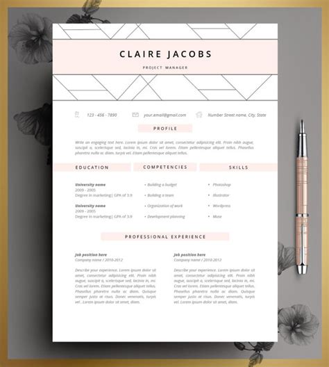 free editable creative resume templates word resume template cv template editable in ms word and pages