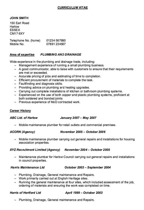resume templates for a 15 year old exle of resume plumber http resumesdesign com