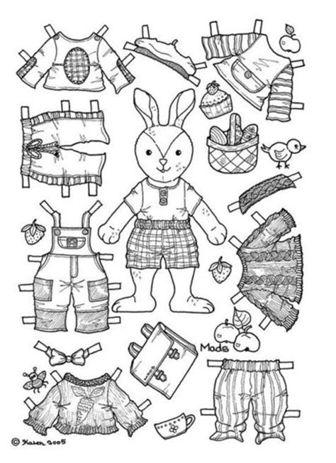 boy doll coloring page boy bunny paper doll coloring page papercraft juxtapost