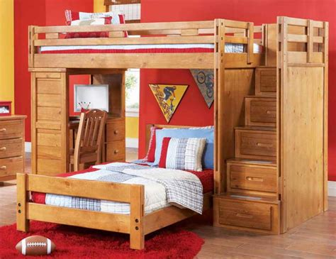 bunk bed with desk underneath with stairs and drawers