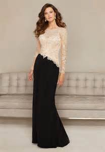 sheath open back black chiffon champagne lace long sleeve