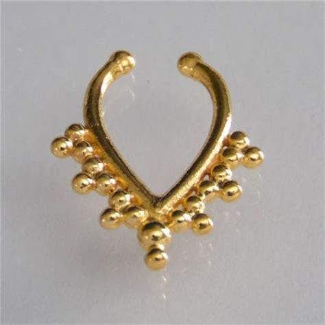 unique gold plated septum for non pierced nose septum