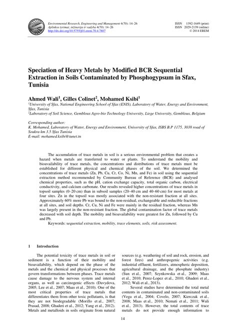 (PDF) Speciation of Heavy Metals by Modified BCR