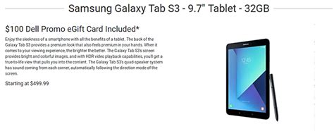 Dell Gift Card Promo - dell offering samsung galaxy tab s3 for 500 100 gift card included as well