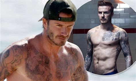 tattoo beckham cruz david beckham shows off his new chest tattoo on the beach