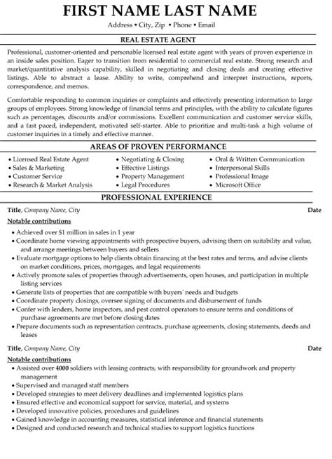 real estate resume sle template