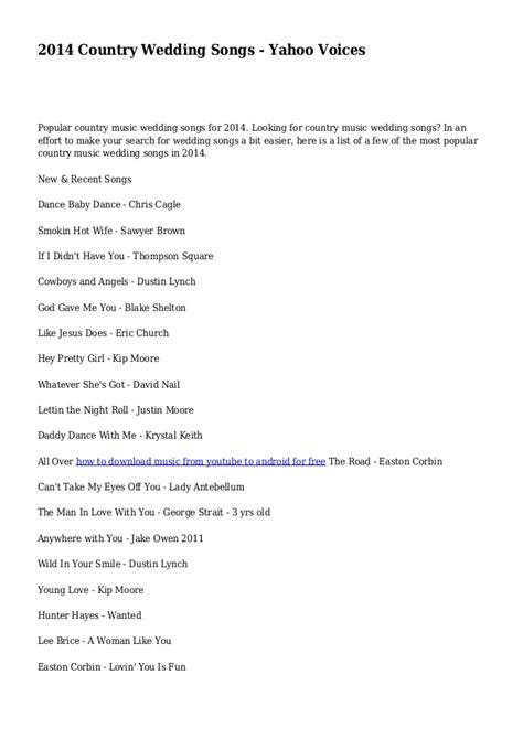 Wedding Yahoo by 2014 Country Wedding Songs Yahoo Voices