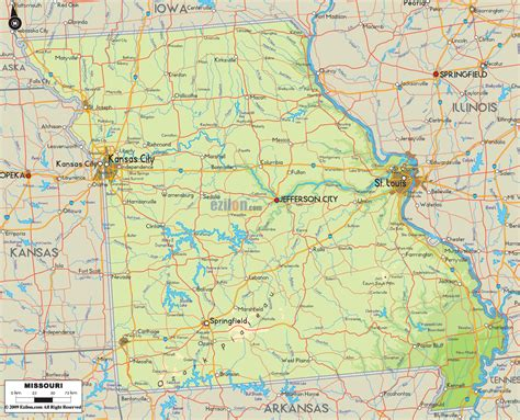 physical map of missouri physical map of missouri ezilon maps