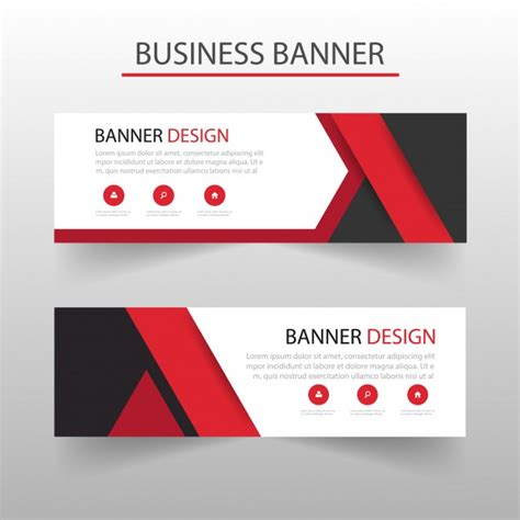 layout e banner template of geometric banners with red shapes vector